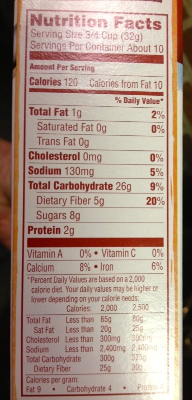 Nutritional Information - Van's natural foods Cinnamon Heaven